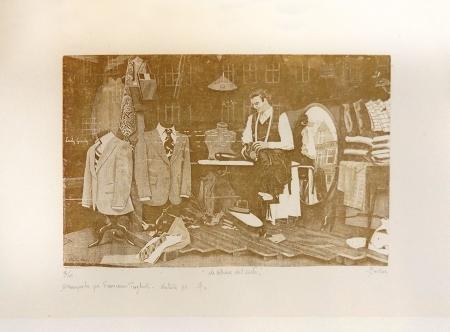 Quadro di Francesco Giuliari La vetrina del sarto - acquaforte carta ad alta grammatura