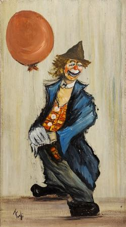 Quadro di  Fogli Clown - olio faesite