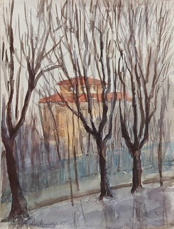 Art work by firma Illeggibile Alberi in inverno - watercolor paper