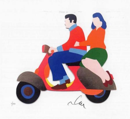 Art work by Marco Lodola  Love in Vespa - serigraphy paper
