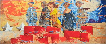 Art work by Giampaolo Talani I partenti - polymaterial lithography paper