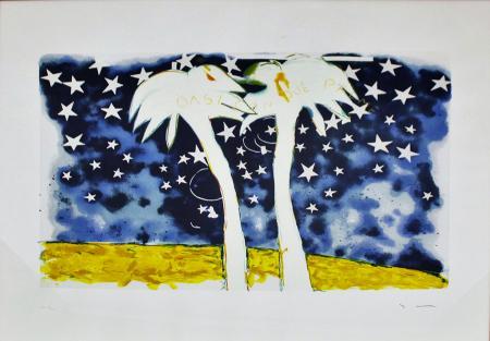 Quadro di Mario Schifano Oasi con due palme - serigrafia carta