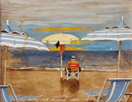 Quadro di Massimo Lomi E la chiamano estate - tempera tavola
