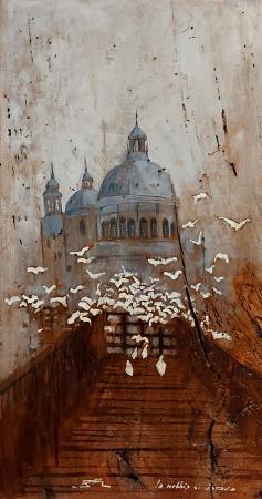 Quadro di Massimo Lomi La nebbia si dirada - Pittori contemporanei galleria Firenze Art