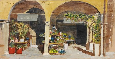Quadro di Massimo Lomi Primavera in piazza dei Leoni (Farinata degli Uberti) Empoli (FI) - tempera tavola