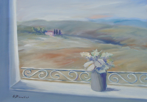 Art work by Umberto Bianchini Balcone con vista - oil canvas