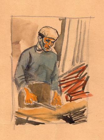 Quadro di Enrique Ortuno Araez Lavoratore - mista carta gialla