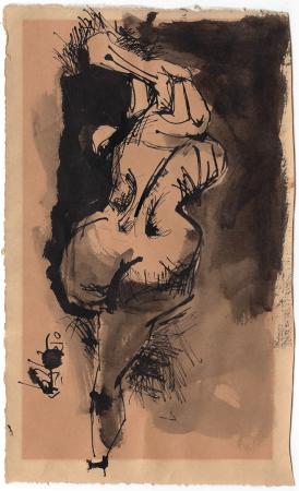 Quadro di Enrique Ortuno Araez Nudo sdraiato - china carta gialla