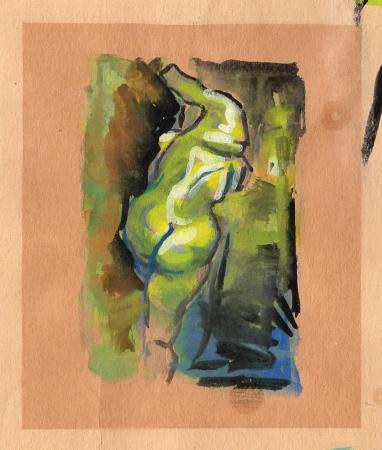 Art work by Enrique Ortuno Araez Nudo di schiena - mixed yellow paper