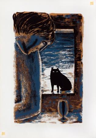 Quadro di Amalia Ciardi Duprè Il gatto nero - litografia carta