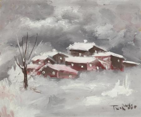Art work by Teo Russo Case sotto la neve - varnish hardboard