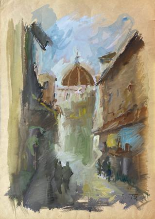 Art work by Gino Tili Via Roma (Firenze) - watercolor paper