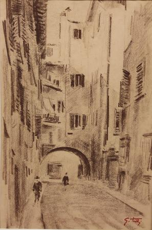 Art work by Gino Tili Arco delle carrozze (Firenze) - pastel paper