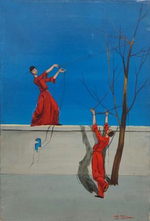 Art work by Mario D'Elia Il filo - oil canvas