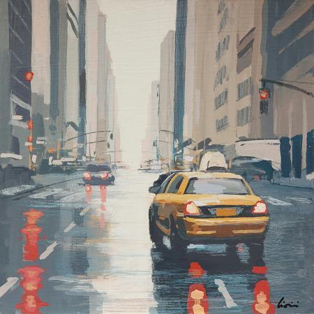 Quadro di Claudio Cionini Taxi a New York - mista cartone