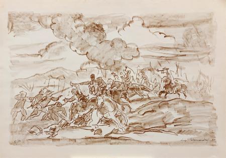 Quadro di Luigi Calamandrei Battaglia - litografia carta
