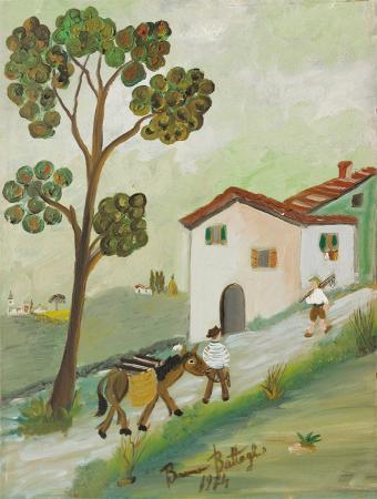 Quadro di Bruno Battaglini Paesaggio di campagna - olio tela