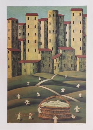 Quadro di Norberto Proietti Il cesto - serigrafia carta