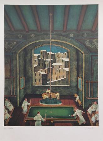 Quadro di Norberto Proietti Il biliardo - serigrafia carta