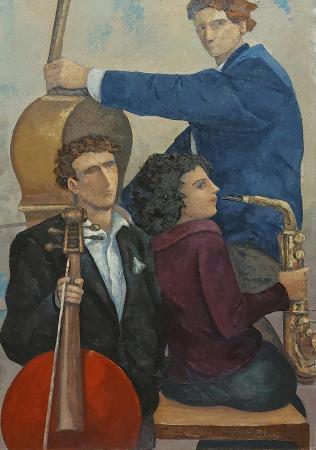 Art work by Giampaolo Talani I tre musicisti - oil jute