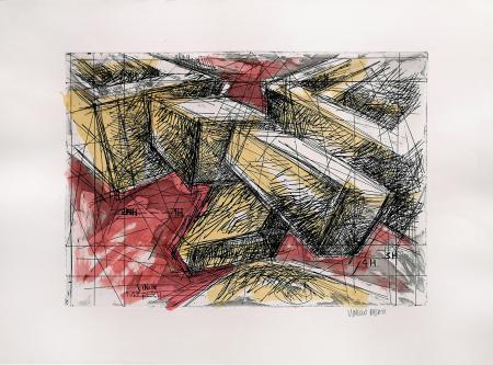 Quadro di Vinicio Berti Ore 12 32 2NH 1H 4H 3H - incisione acquarellata carta