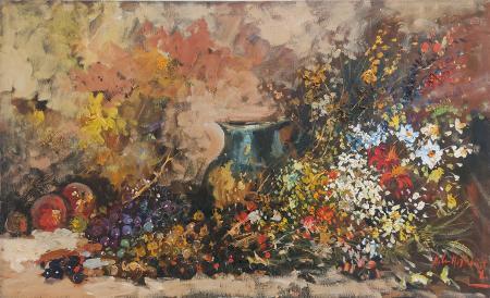 Quadro di Norberto Martini Vaso di fiori e frutta - Pittori contemporanei galleria Firenze Art