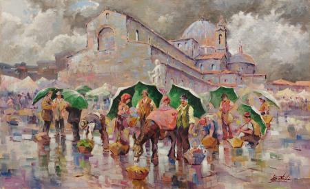 Quadro di Loris Centelli Mercato di San Lorenzo dopo il temporale - olio tela