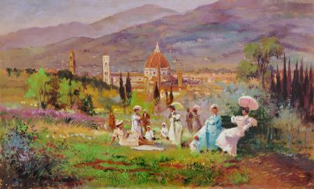 Quadro di Loris Centelli Ispirazione ottocentesca - olio faesite