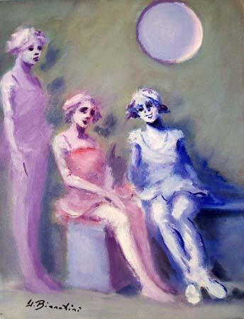 Art work by Umberto Bianchini Figurine - oil canvas