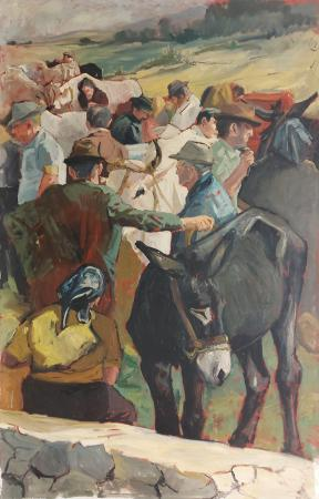Quadro di Vincenzo Morra Mercato del bestiame - olio tela