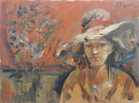 Quadro di Emanuele Cappello Donna con cappello - olio tela
