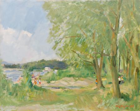 Quadro di Vittorio Faiviget V.  Paesaggio con fiume - olio tela