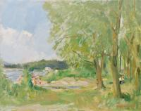 Vittorio Faiviget V.  - Paesaggio con fiume
