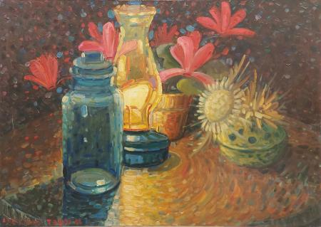 Quadro di Adelindo Tassi Lanterna e fiori  - olio tela