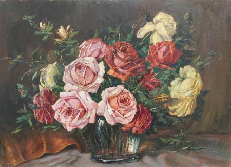 Quadro di Gracco Ponticelli Vaso di rose - olio compensato