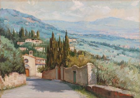 Quadro di Gracco Ponticelli Fiesole dalla panchina  - Pittori contemporanei galleria Firenze Art