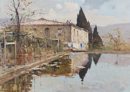Quadro di Osvaldo Curandai Colonica - olio tela