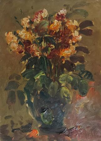 Quadro di Emanuele Cappello Fiori con vaso - olio tela