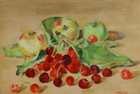 Quadro di Nelusco Sarti Mele e ciliegie - olio compensato
