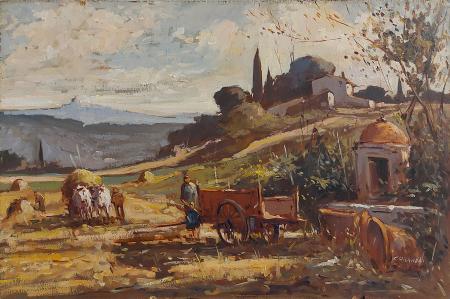 Quadro di Gianfranco Curandai  Località san Donato  - olio truciolare