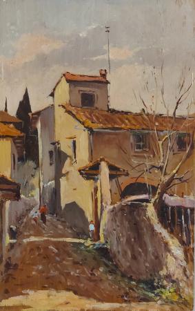 Quadro di Gianfranco Curandai  La Pieve - Bagno a  Ripoli  - olio tavola