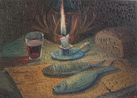 Quadro di Adelindo Tassi Composizione con candele e pesci - olio tavola
