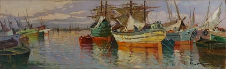 Quadro di Renzo Martini Barche e velieri - olio faesite