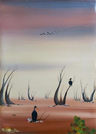 Quadro di Roberto Becucci Desolazione con corvi che aspettano l'uno la morte dell'altro - olio tela