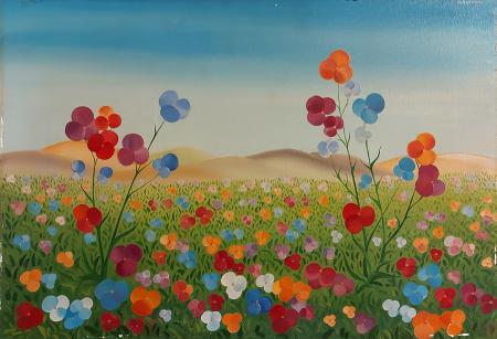 Quadro di Roberto Becucci Campo di fiori - olio tela
