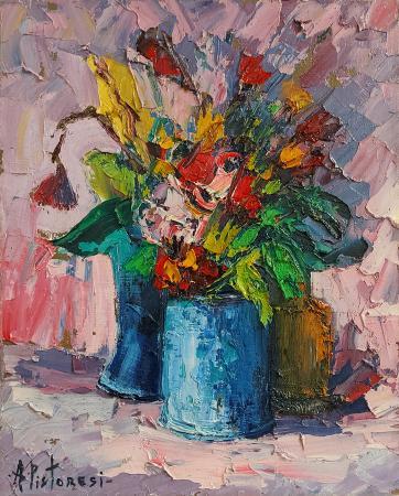 Quadro di Alberto Pistoresi Vasi e fiori secchi - olio tela