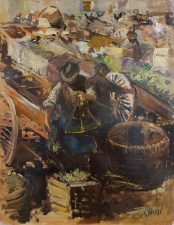 Art work by Sergio Cirno Bissi Scena di mercato - oil hardboard