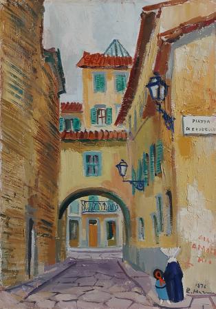 Art work by Rodolfo Marma Omaggio a S. Frediano - Vicolo di Cestello - Firenze  - oil canvas