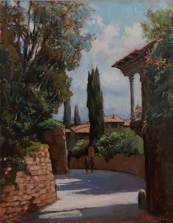 Quadro di Gracco Ponticelli Via Vecchia Fiesolana - S. Domenico - olio tavola