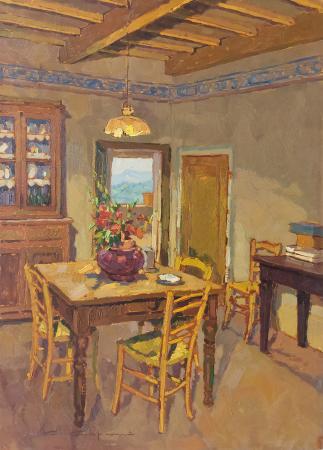 Quadro di Carlo  Capanni La porta sulla terrazza - olio tavola